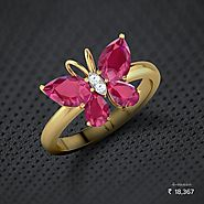 Butterfly Ruby Ring - Set in 18 Kt Yellow Gold (3.93 gms) with Diamonds (0.02 Ct, IJ-SI) Certified by SGL