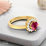 Forever Floral Diamond & Ruby Ring - Set in 18 Kt Yellow Gold (3 gms) with Diamonds (0.16 Ct, IJ-SI) Certified by...