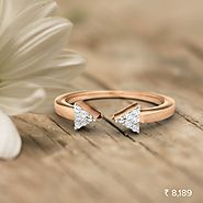 Arrow Midi Ring - Set in 18 Kt Rose Gold (1.84 gms) with Diamonds (0.03 Ct, IJ-SI) Certified by SGL