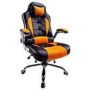 Aminiture Swivel Chair Gaming Racing Style Recliner Orange­