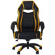 Merax High Back Racing Style Executive Leather Swivel Gaming Chair (Black and yellow recliner)