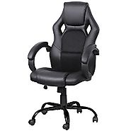 Yaheetech Adjustable High Back Gaming Racing Car Style Swivel Tilt Chair (Black)