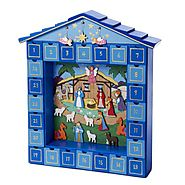 Kurt Adler Wooden Nativity Advent Calendar - Christmas Decorating Fun