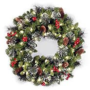 Battery Lit Christmas Wreaths - Christmas Decorating Fun