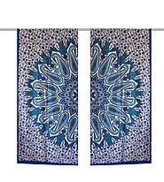 Blue hippie window curtain wall hanging