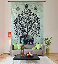 Off White & Black Tree of Life Wall Tapestry