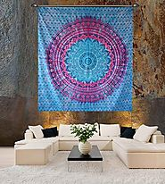 Queen Blue Ombre Tapestry Pink Shade Hippie Wall Tapestries Ombre Bedding Dorm Decor Mandala Tapestry Indian Mandala ...