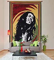 Yellow bob marley happy face hippie wall tapestry