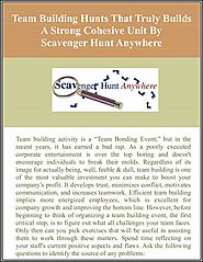 Team Building Hunts That Truly Builds A Strong Cohesive Unit By Scavenger Hunt Anywhere