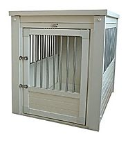 New Age Pet Eco Flex Dog Crate with Stainless Steel Spindles, Large, Antique White