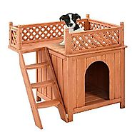 Pet Dog House Wood Wooden Puppy Room Indoor Outdoor Roof Balcony Bed Shelter