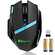Wireless Gaming Mouse Kingtop Ergonomic 2.4G Professional Game Mice with 9 Buttons Adjustable DPI Level 12 Months Bat...