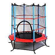 "Giantex Exercise 55"" Round Kids Youth Jumping Trampoline w/ Safety Pad Enclosure Combo"