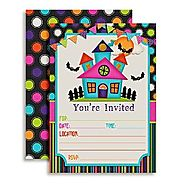 Colorful Haunted House Fill In Party Invitations