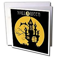 Edmond Hogge Jr - Haunted Halloween House with Background - 1 Greeting Card with envelope (gc_158208_5)