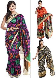 Combo of 3 Printed Chanderi Art Silk Sarees by Zoha | 60 Ghantey Maha Loot