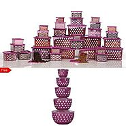 33 Pc Storage Set With 5 Pc Round Storage Boxes Free By Joyo