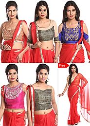 Pack of 5 Designer Embroidered Blouse Pieces By Chhabra555