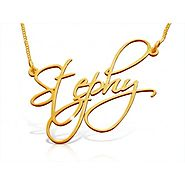 Custom Handwriting Name Necklace in Solid 14k Gold