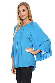 Solid color waist length 3/4 kimono sleeve top turquoise color by Lady Charm Online