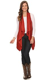 Faux suede vest with draped open front detail and asymmetrical hem red color HX2708-3 PREORDER