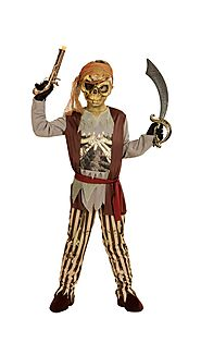 "0397 - ""GHOST SHIP PIRATE"" (shirt with bone chest and vest, pants, belt, headband, mask)"