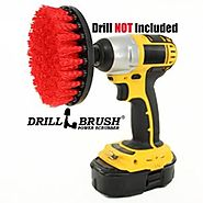 5 inch Diameter Red Stiff Bristled Drill Powered Cleaning Brush with Quarter Inch Quick Change Shaft