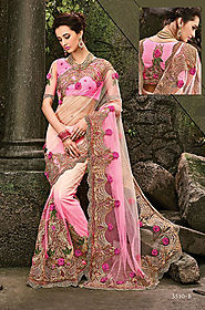 light pink georgette, saree