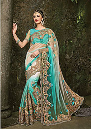 sky blue & wehit georgette, saree