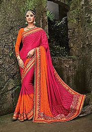 pink georgette, saree