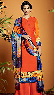 multi orange cotton salwar kameez