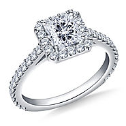 1.00 ct. tw. Princess Cut Diamond Halo Cathedral Engagement Ring in 14K White Gold