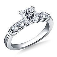 1.00 ct. tw. Prong Set Princess Cut Diamond Ring with Ridged Accents in 14K White Gold