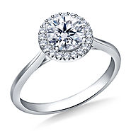 5/8 ct. tw. Round Brilliant Diamond Halo Cathedral Engagement Ring in 14K White Gold