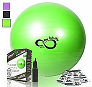 Exercise Ball -Professional Grade Exercise Equipment Anti Burst Tested with Hand Pump- Supports 2200lbs- Includes Wor...