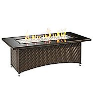 Outdoor Great Room Montego Crystal Fire Pit Coffee Table with Balsam Wicker Base