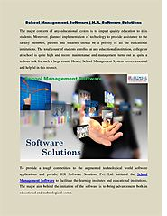 School Management Software | H.R Software Solutions