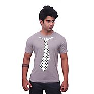 Unisopent Designs Black Box Tie Cotton T-shirts with Grey Blue