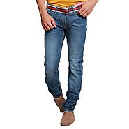 Necked Jeans Dark Blue Faded Dynamic 3D-Jeans for Men