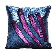 Fengheshun Reversible Sequins Pillowcase Mermaid Pillow Covers 40×40 cm Two Color Changing (Dark Blue+Purple)