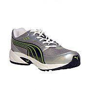 Puma Mens Storm 3.5 Grey and Green Mesh Running Shoes