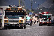 Colorful chicken bus in Guatemala