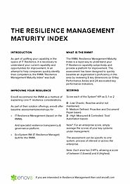 Get Best Resilience Management Maturity Index From Enov8