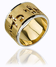 Spinning Biblical Gold Hebrew Ring - 14mm | Hebrings.com