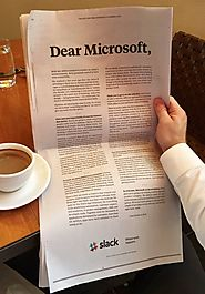 Slack took out a full-page ad in the New York Times to welcome its new competitor, Microsoft