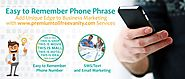 Easy to Remember Phone Phrase - Add Unique Edge to Business Marketing with www.premiumtollfreevanity.com Services