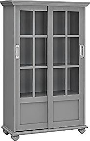 Altra Aaron Lane Bookcase with Sliding Glass Doors, Soft Gray