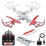 Fiery AKASO X5C Quadcopter 2.4GHz 4 CH 6 Axis Gyro RC Drone HD Camera Bundle with Battery and Charger