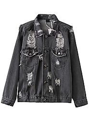 Black Ripped Denim Jacket With Pockets