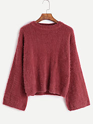 Drop Shoulder Loose Fuzzy Sweater